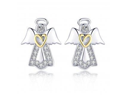 Stříbrné náušnice ANDĚL se zlatým srdcem