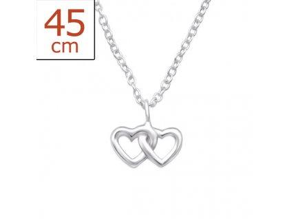 Stříbrný řetízek dvě srdce OLIVIE.CZ