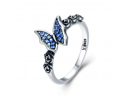 Stříbrný prsten MODRÝ MOTÝL od OLIVIE.