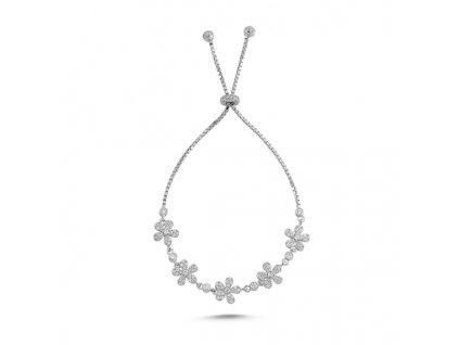 Stříbrný květinový náramek od OLIVIE. Krásný dárek pro partnerku, ženu, maminku k Vánocům nebo narozeninám.