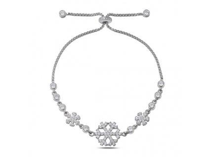 Stříbrný náramek SNĚHOVÁ VLOČKA, vánoční dárek pro ženu.