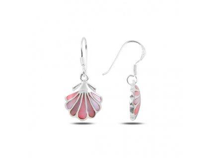 Stříbrné visací růžové náušnice