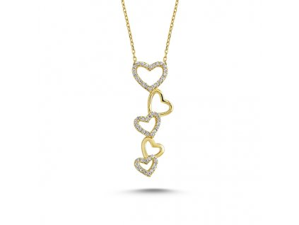 Stříbrný srdíčkový pozlacený náhrdelník GOLD