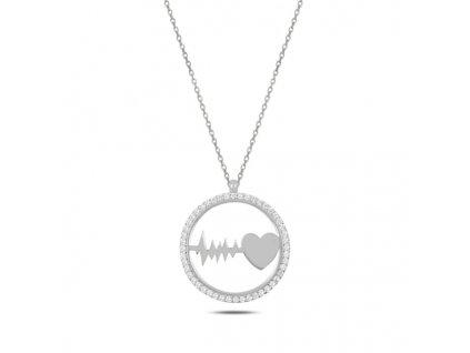 Stříbrný řetízek TLUKOT SRDCE od OLIVIE, krásný dárek pro manželku, maminku nebo partnerku k Vánocům, narozeninám.