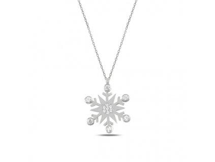 Stříbrný řetízek SNĚHOVÁ VLOČKA, krásný dárek pro ženu k Vánocům