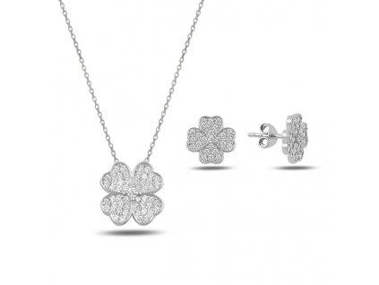 Sada stříbrných šperků ČTYŘLÍSTEK, krásný dárek k narozeninám nebo Vánocům pro ženu