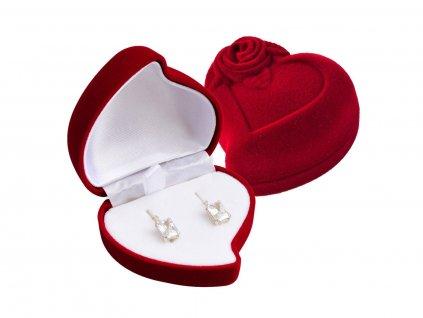 Dárková červená krabička SRDCE s růží na náušnice