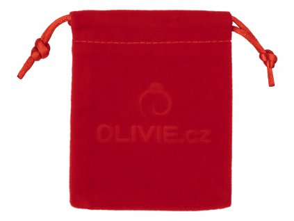 Sametový pytlík červený na úschovu stříbrných šperků OLIVIE