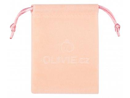 Sametový pytlík růžový na úschovu stříbrných šperků OLIVIE
