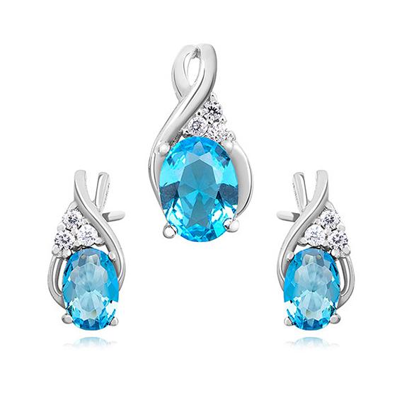 OLIVIE Sada stříbrných šperků AKVAMARÍN 3028