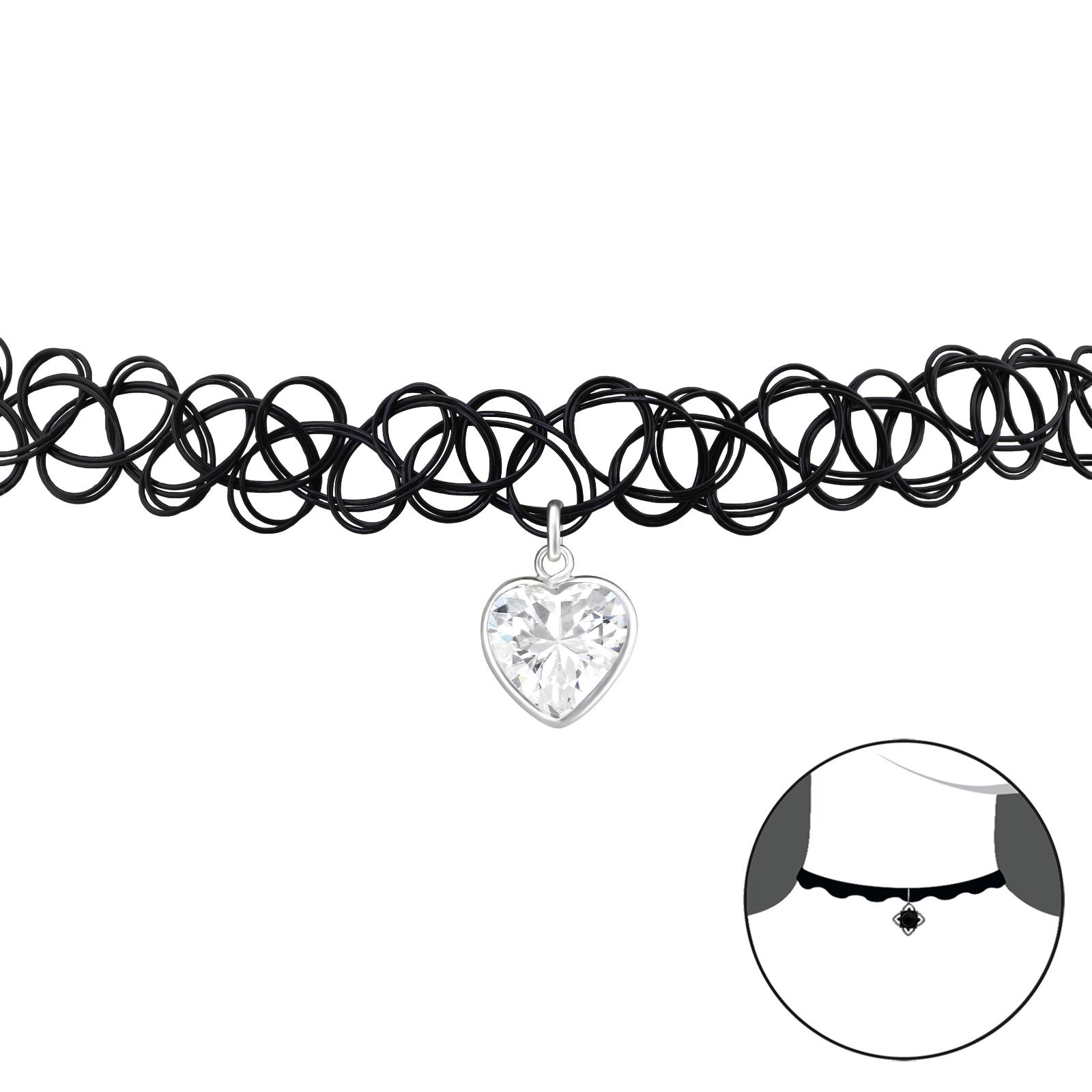 OLIVIE - CHOKER náhrdelník stříbrné SRDCE 0320