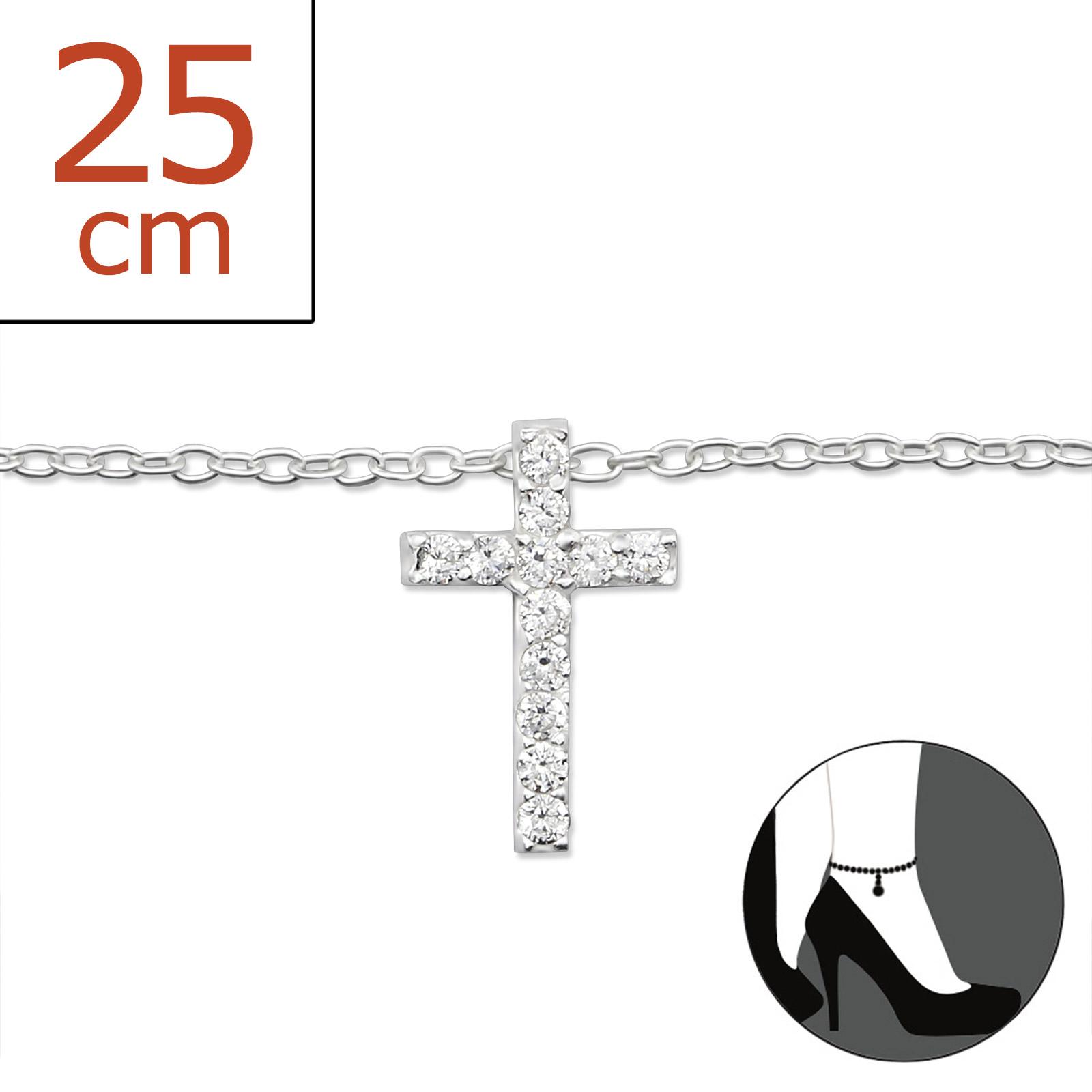 OLIVIE - Stříbrný řetízek na nohu KŘÍŽEK se zirkony 0322