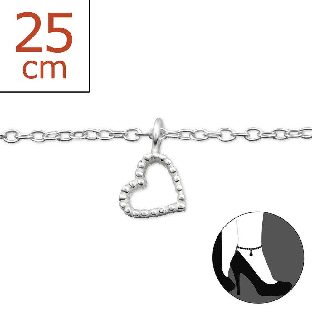 OLIVIE - Stříbrný řetízek na nohu SRDÍČKO 0324