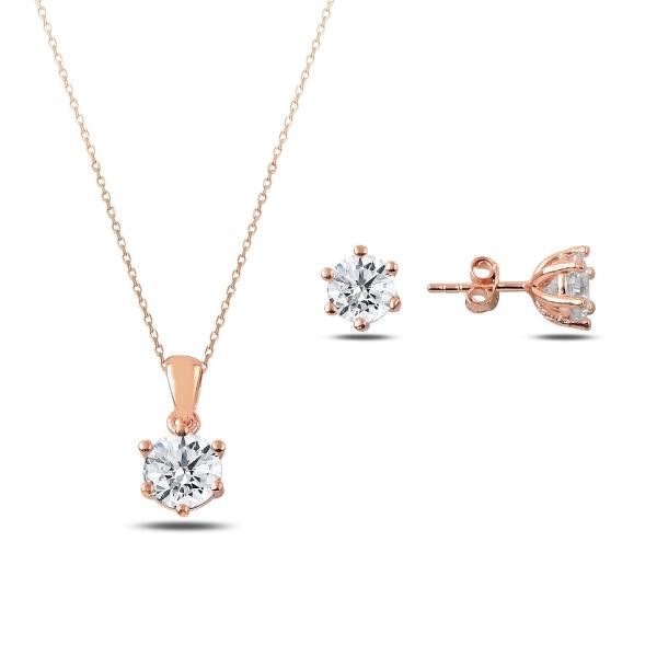 OLIVIE Sada stříbrných šperků ZIRKON ROSE 3172