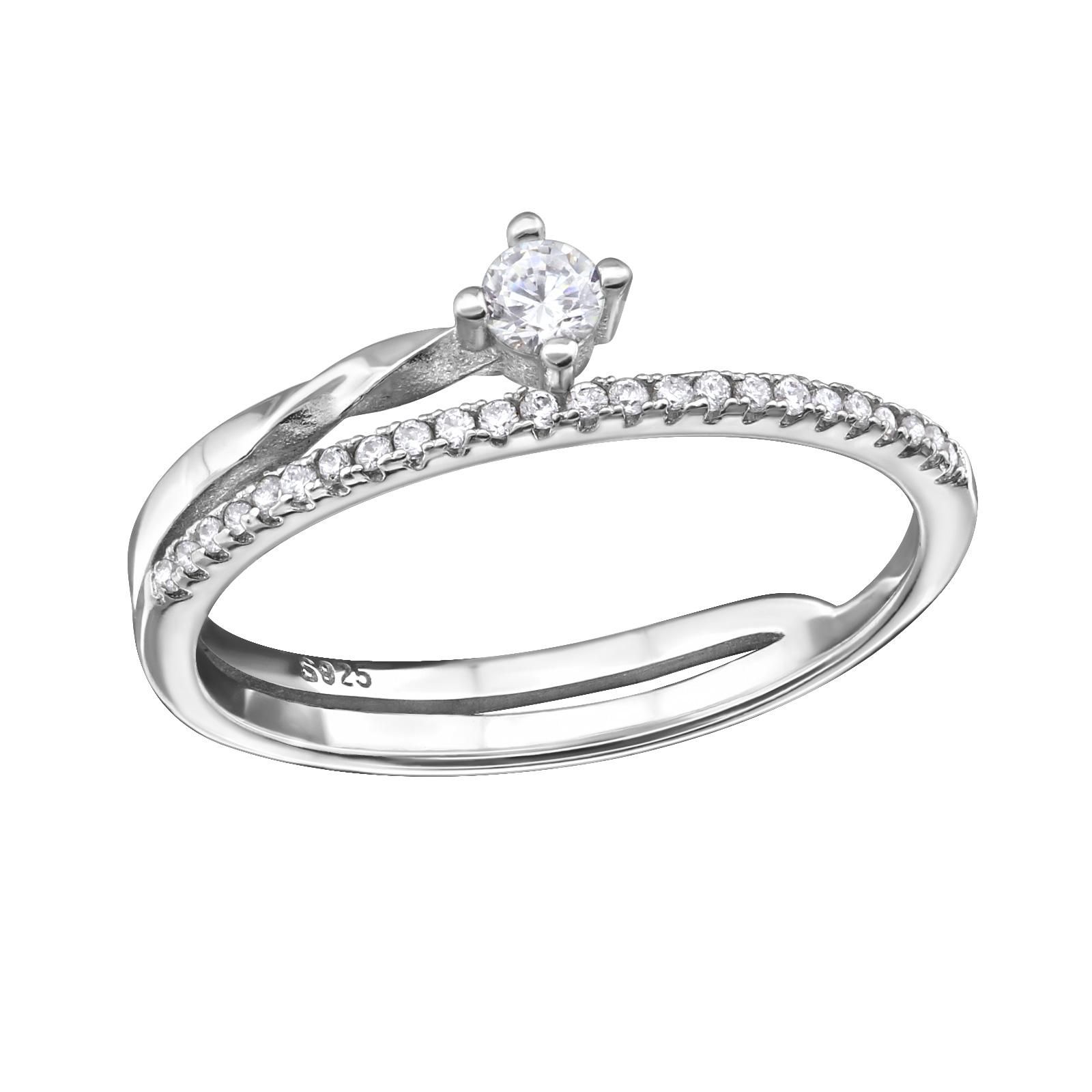 OLIVIE Stříbrný zatočený prsten 0662 Velikost: 8 (EU: 57 - 58)