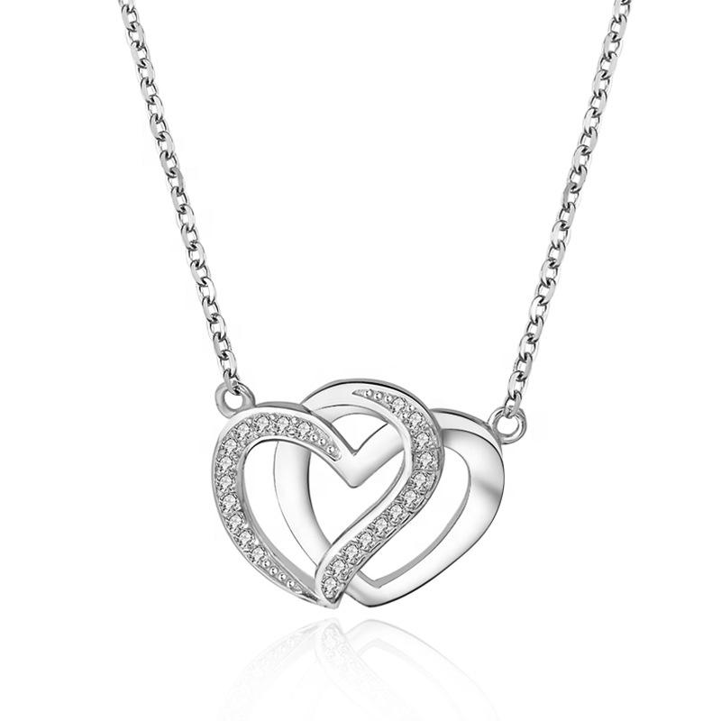 Levně Stříbrný náhrdelník SPOJENÁ SRDCE 4949 Ag 925; ≤3,2 g.