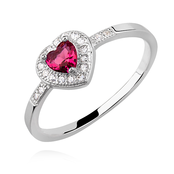 OLIVIE Stříbrný prsten ČERVENÉ SRDCE 4975 Velikost prstenů: 5 (EU: 49-50)