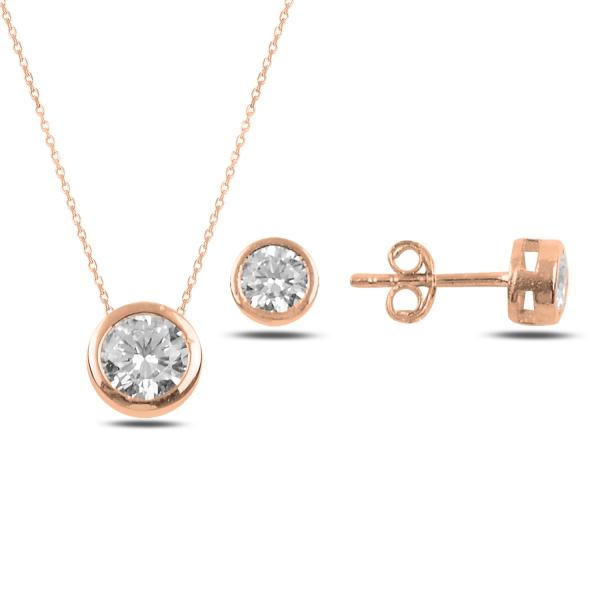 OLIVIE Sada stříbrných šperků ZIRKON ROSE 5007