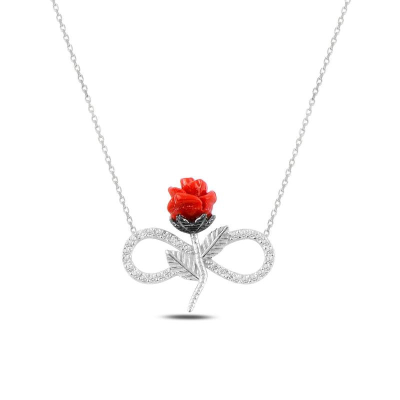 Levně Stříbrný náhrdelník NEKONEČNO S RŮŽÍ 5330 Ag 925; ≤2,4 g.
