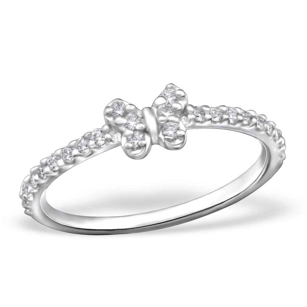 OLIVIE Stříbrný prsten MOTÝL se zirkony 0690 Velikost: 6