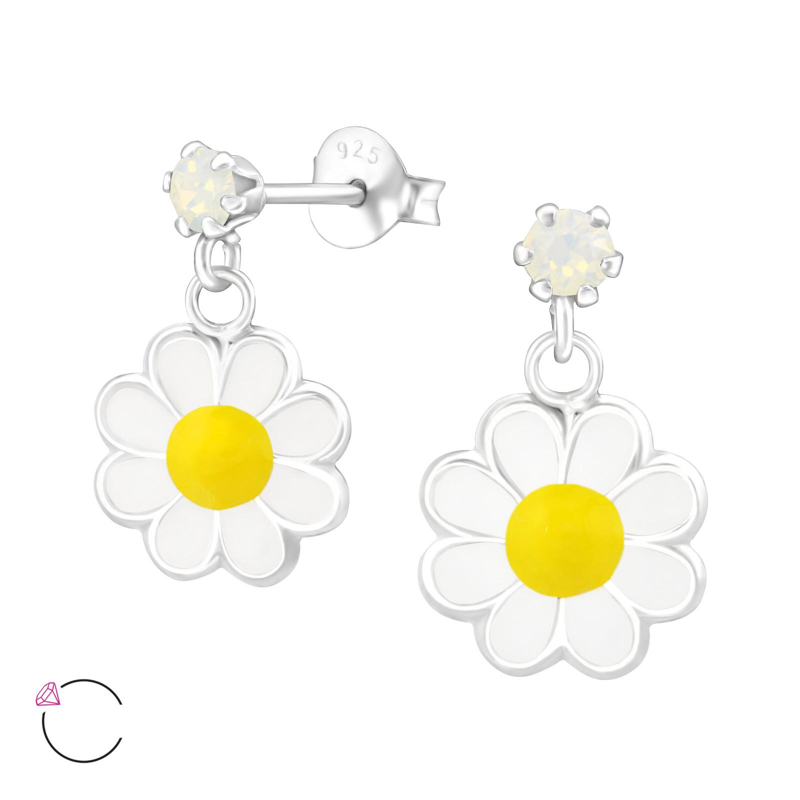 0708 Dětské stříbrné náušnice FLOWER se SWAROVSKI krystaly 0708