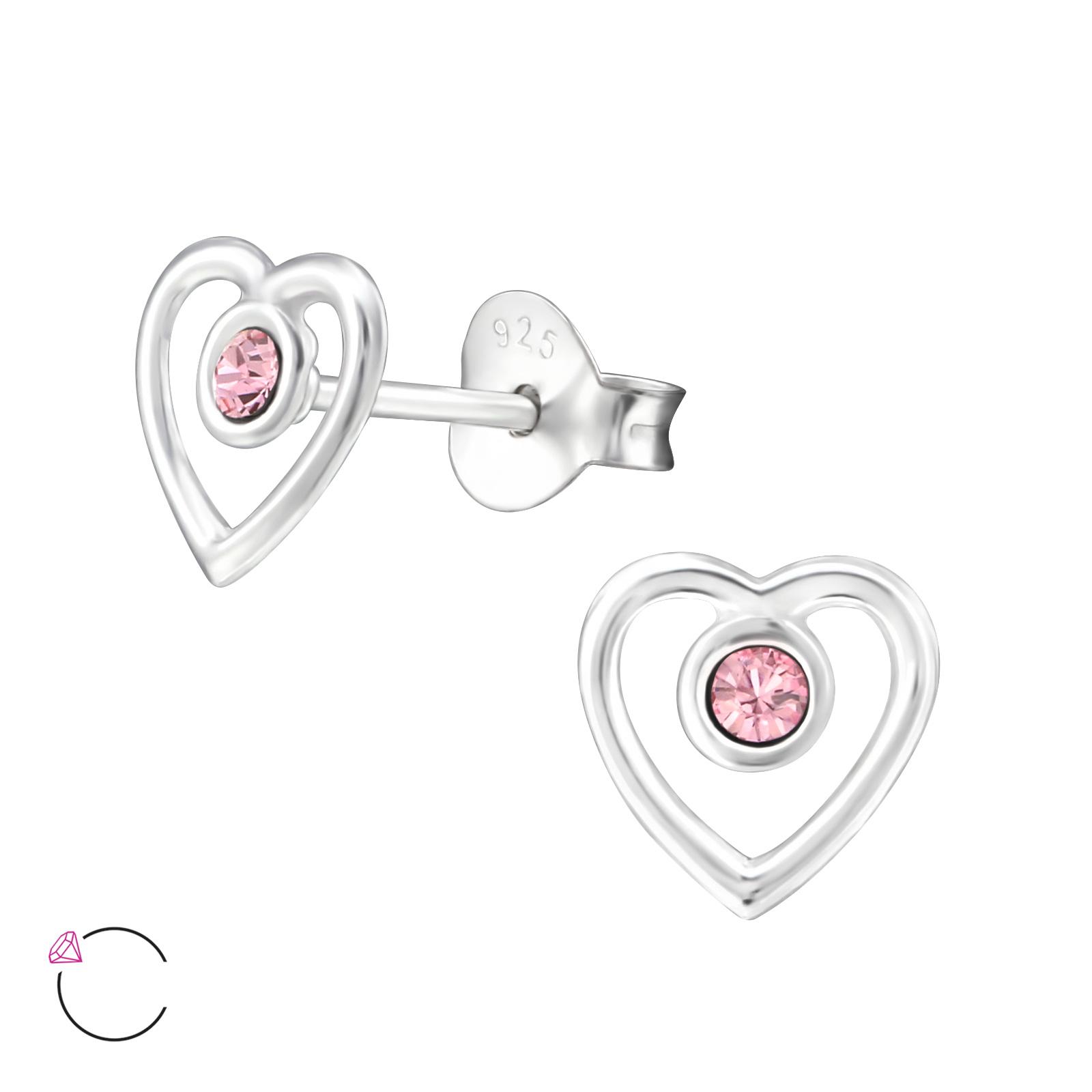 OLIVIE Dětské stříbrné náušnice SRDCE se Swarovski® krystaly PINK 0720
