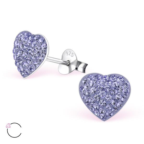 OLIVIE Stříbrné náušnice SRDÍČKO se Swarovski krystaly 0723