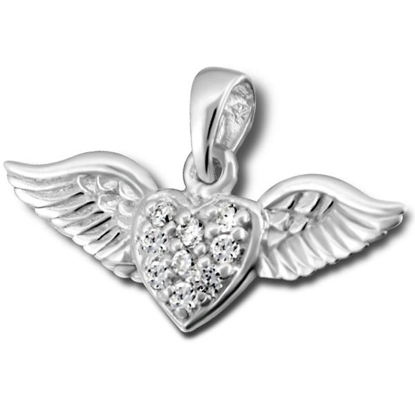 OLIVIE - stříbrný přívěsek OKŘÍDLENÉ SRDCE 0057