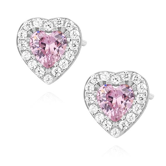 OLIVIE Stříbrné náušnice s růžovými zirkony SRDÍČKO 0762