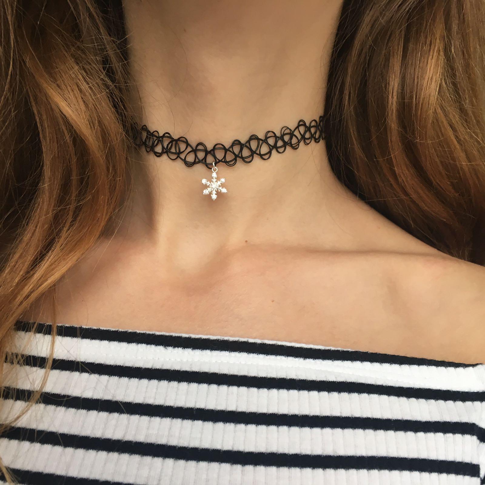 OLIVIE - CHOKER náhrdelník SNĚHOVÁ VLOČKA 0075