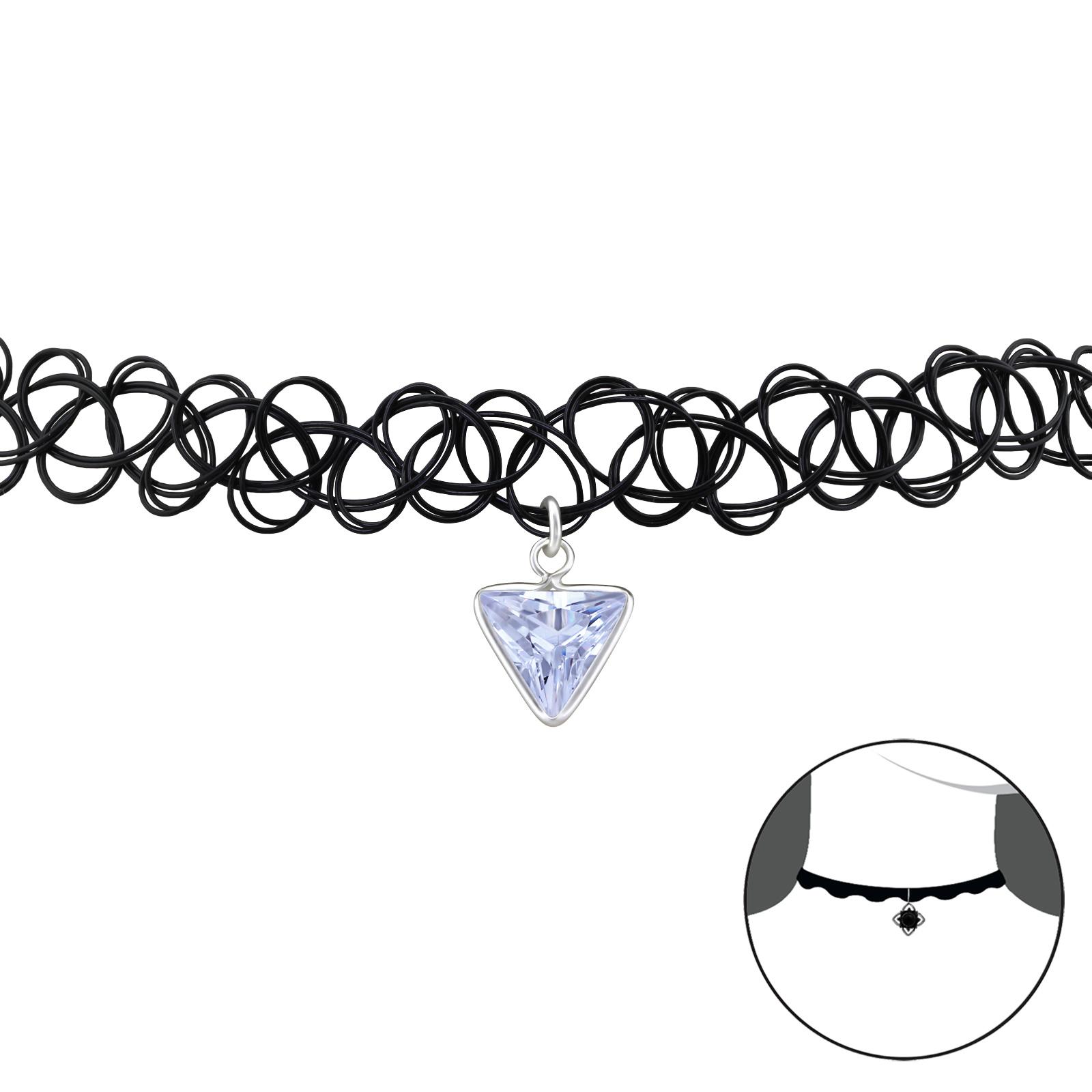 OLIVIE - CHOKER náhrdelník TROJÚHELNÍK LEVANDULE 0076
