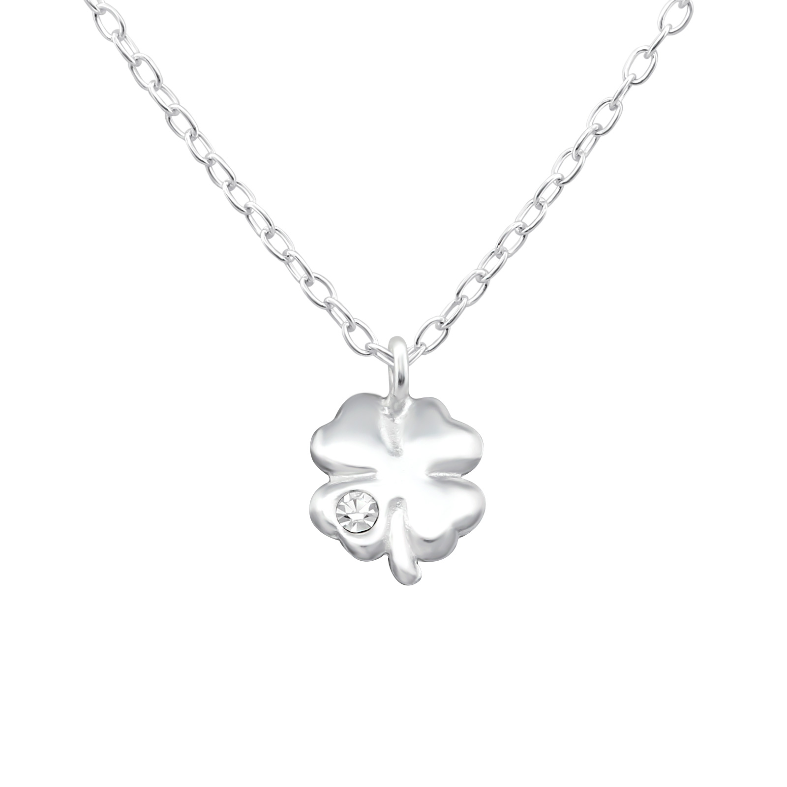 OLIVIE Stříbrný řetízek ČTYŘLÍSTEK s krystalem 0968