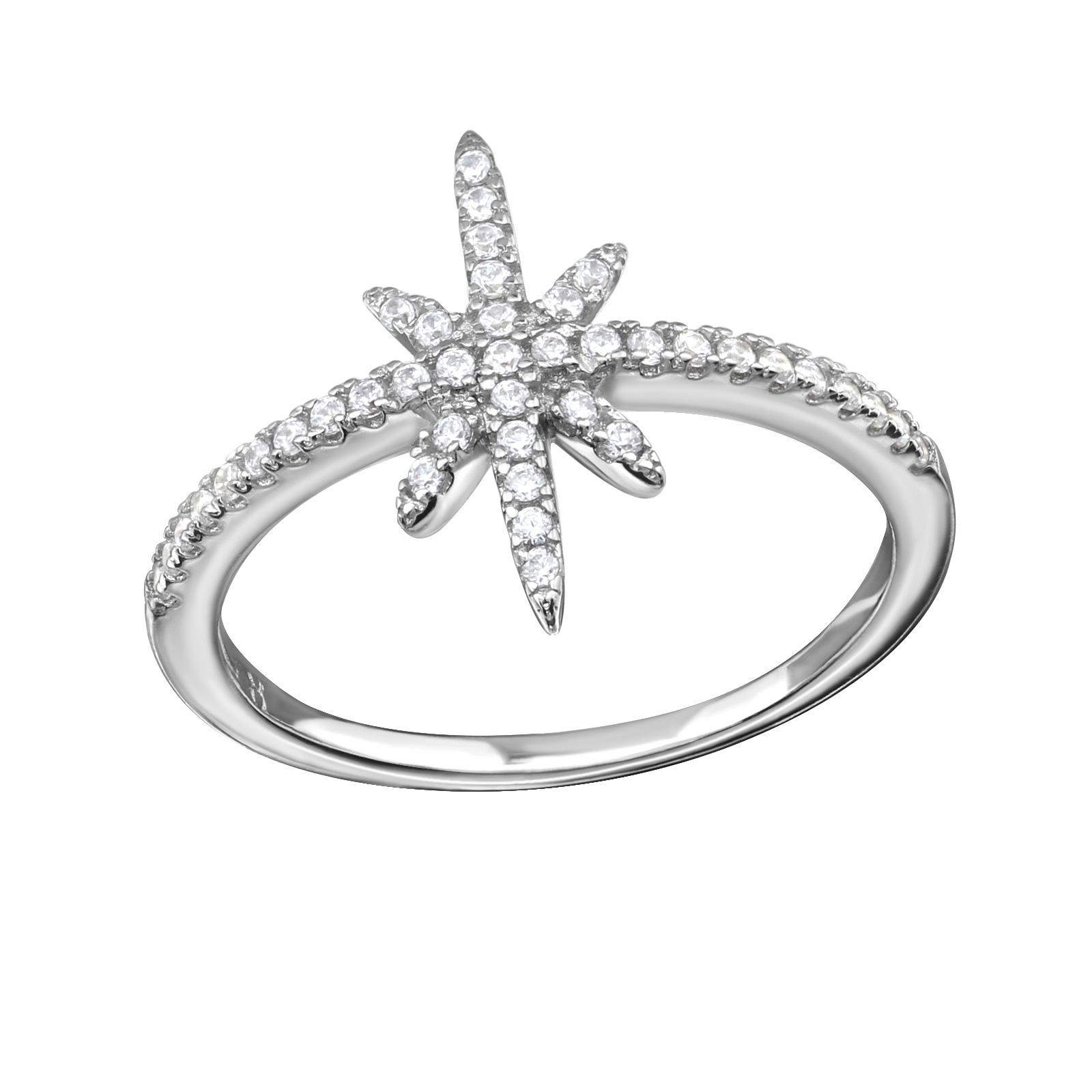 OLIVIE Stříbrný prsten HVĚZDA s kubickými zirkony 1027 Velikost: 5