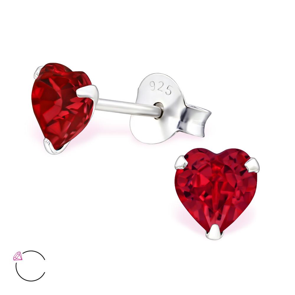 OLIVIE Stříbrné náušnice SRDCE se SWAROVSKI® krystalem RED 1044