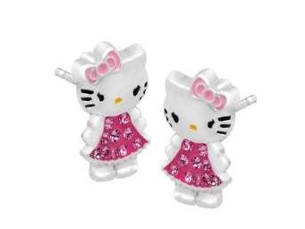 OLIVIE *PREMIUM* Stříbrné náušnice Hello Kitty 1051