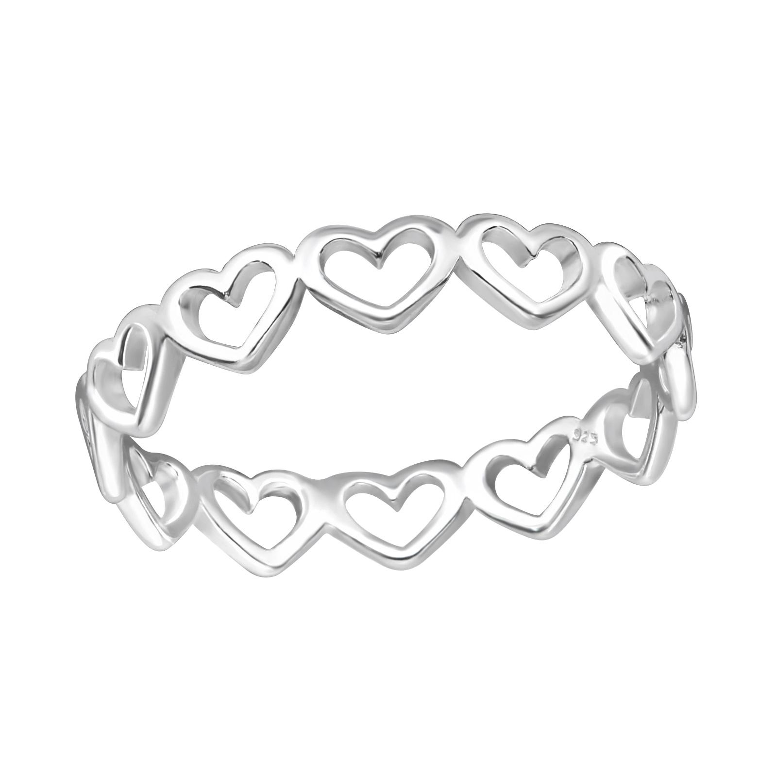OLIVIE Stříbrný srdíčkový prsten 1196 Velikost: 8 (EU: 57 - 58)