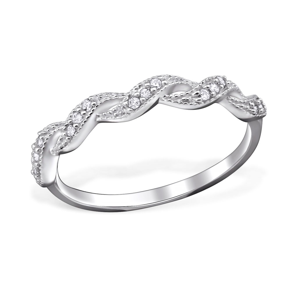 OLIVIE Stříbrný zakroucený prsten 1201 Velikost: 8 (EU: 57 - 58)