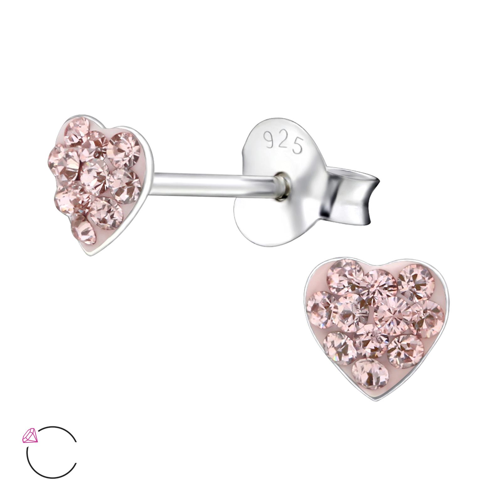 OLIVIE - Dětské stříbrné náušnice SRDCE se Swarovski® krystaly 0107