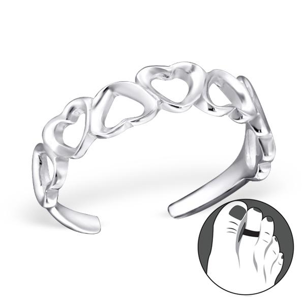 OLIVIE Stříbrný srdíčkový prsten na nohu 1225