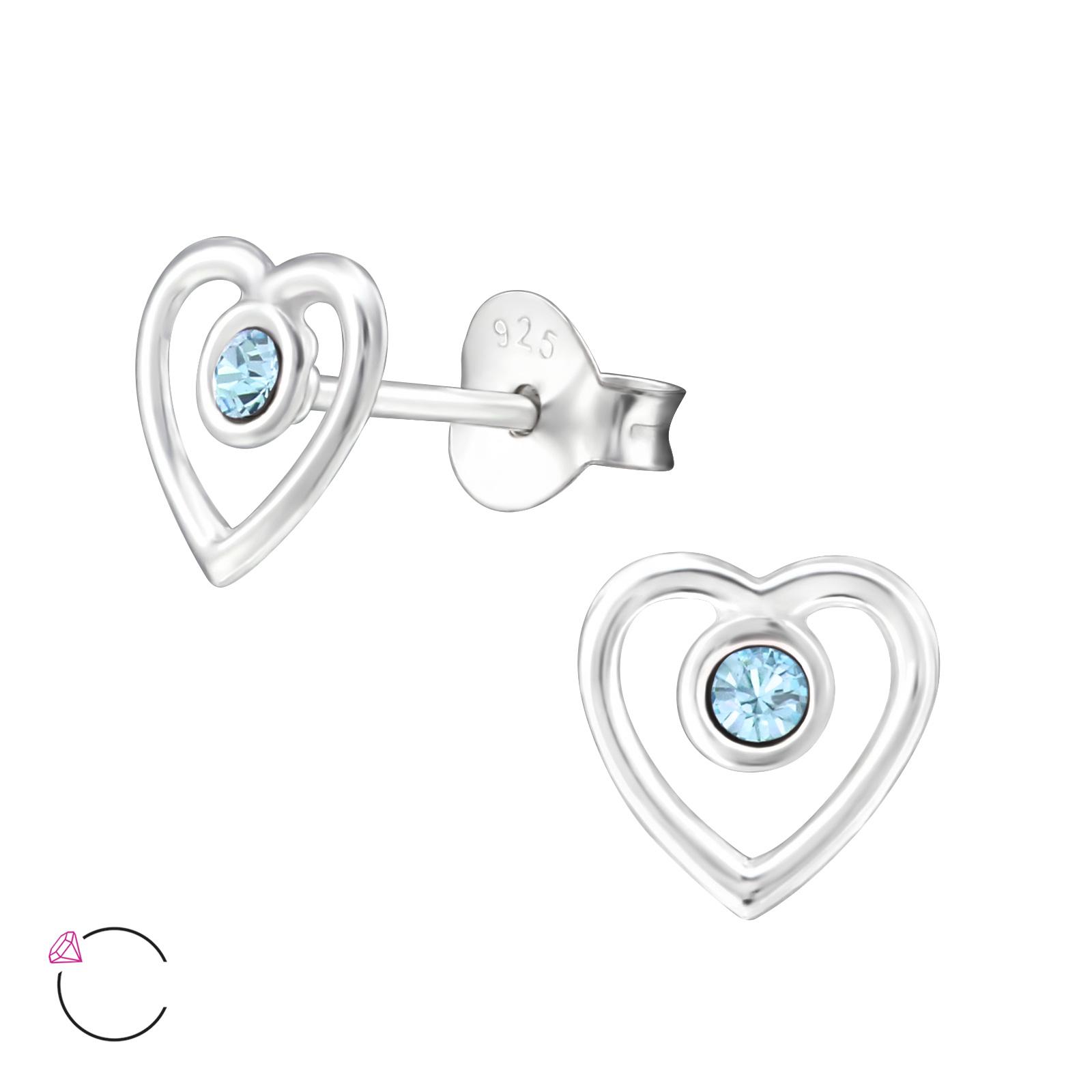 OLIVIE - Dětské stříbrné náušnice SRDCE se Swarovski® krystaly 0108