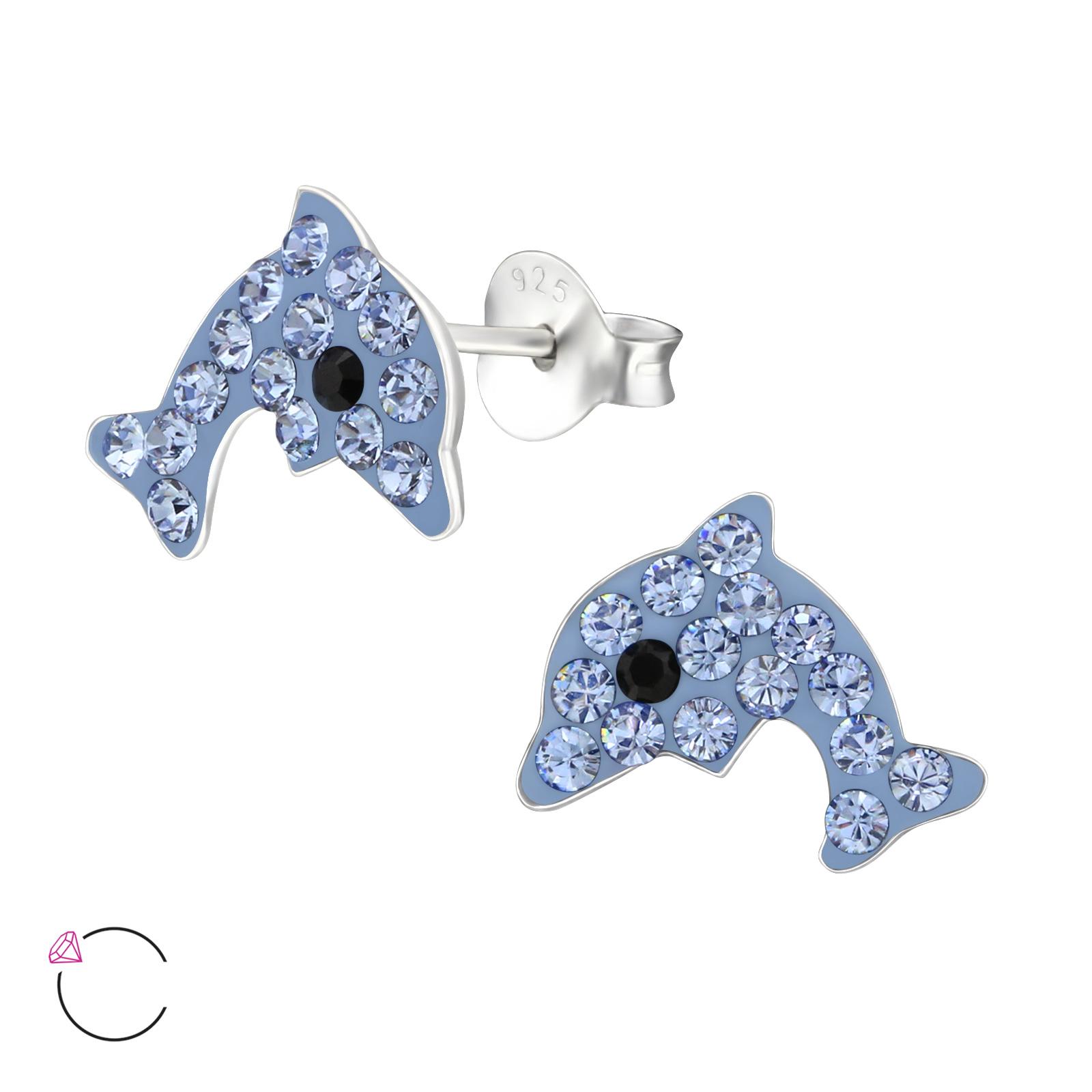 OLIVIE Dětské stříbrné náušnice DELFÍN se Swarovski krystaly 1346