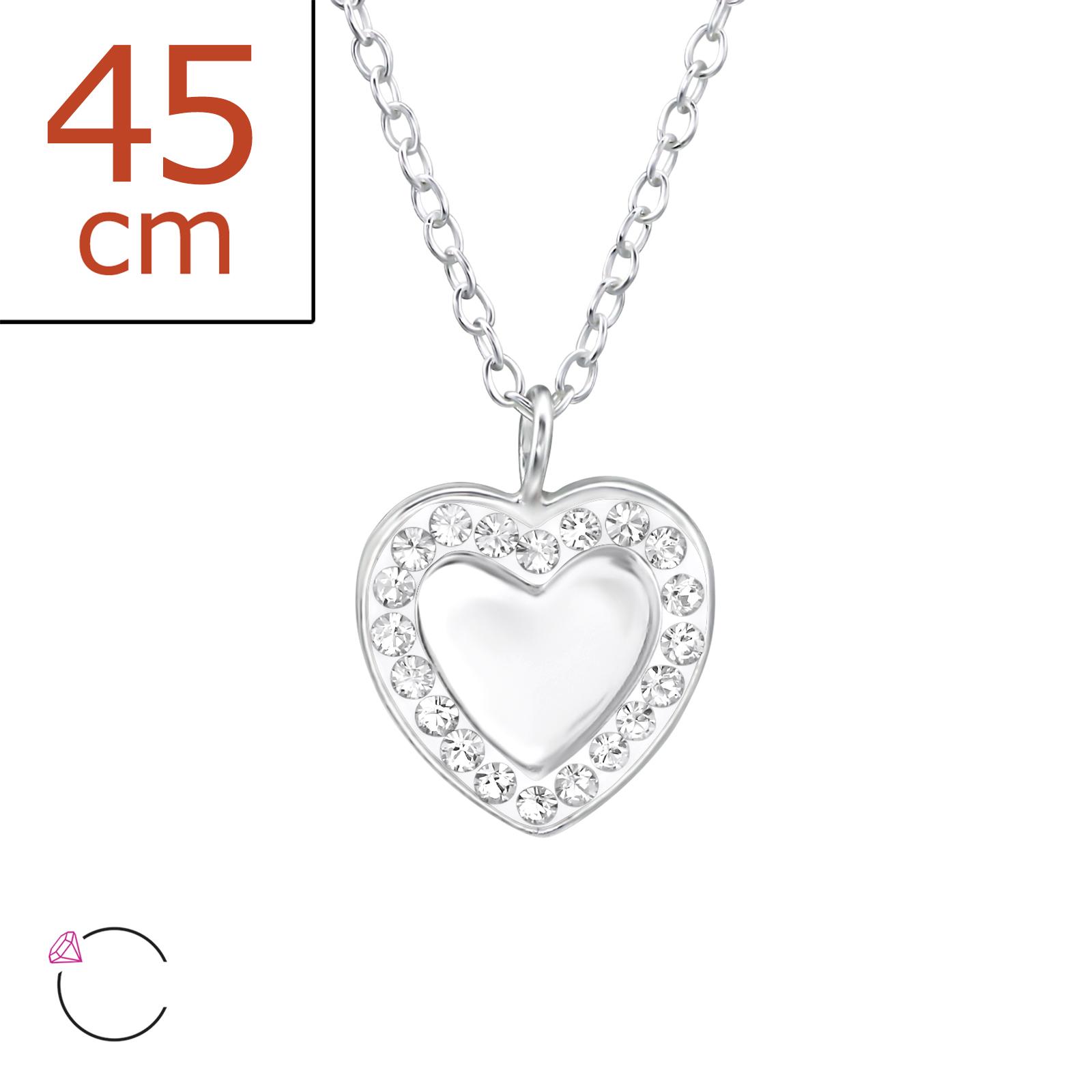 OLIVIE - Stříbrný řetízek s přívěskem SRDCE se Swarovski® krystaly 0124