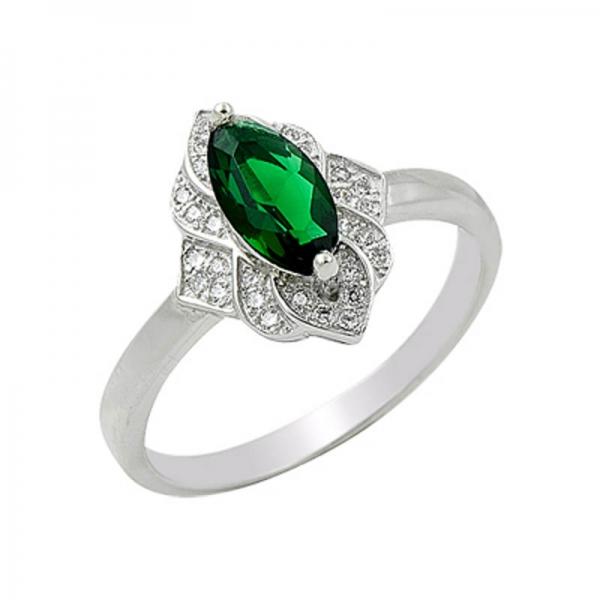 OLIVIE Stříbrný prsten GREEN 1374 Velikost: 8 (EU: 57 - 58)