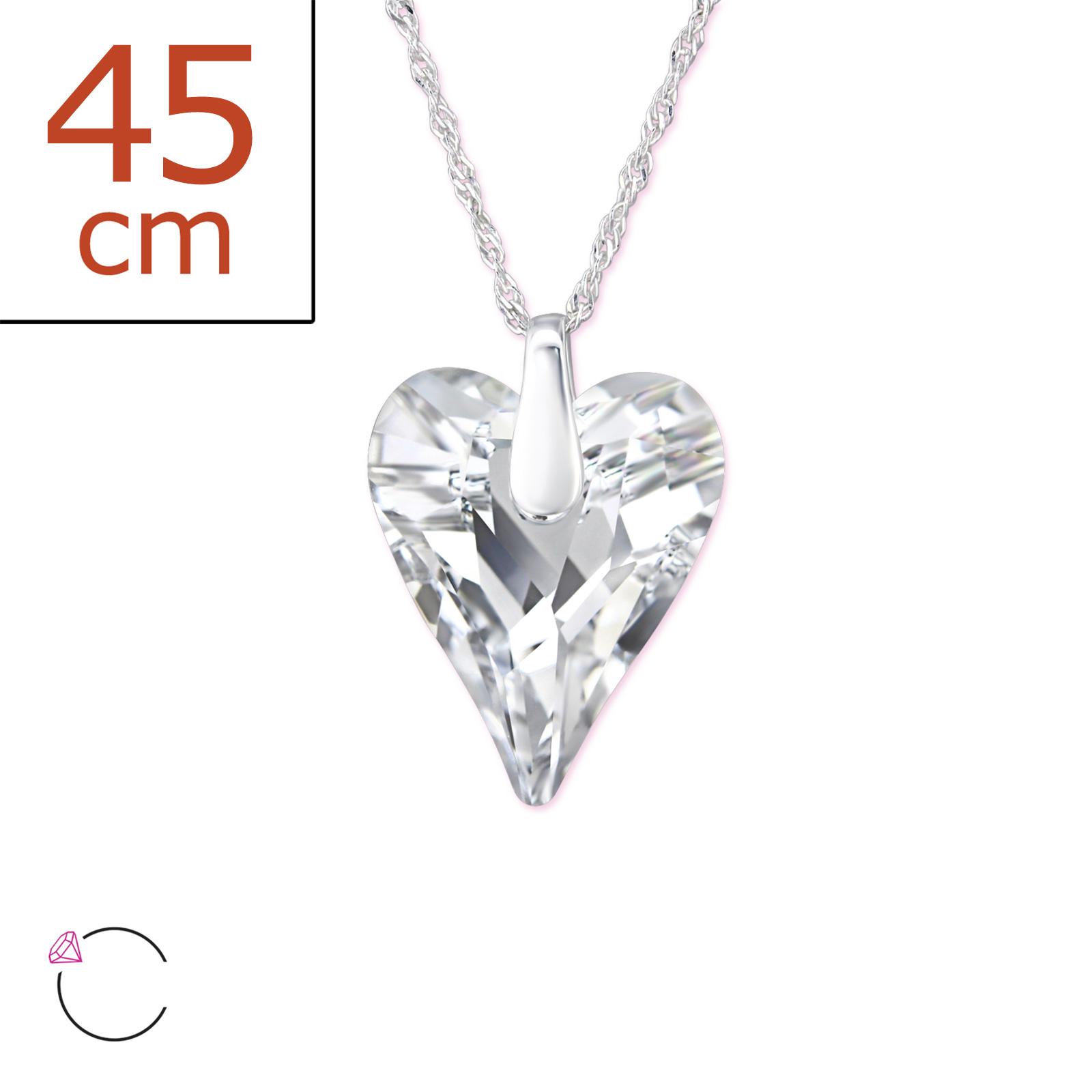 0126 Stříbrný řetízek s přívěskem SRDCE se Swarovski® krystalem Ag 925; 1,50 g.