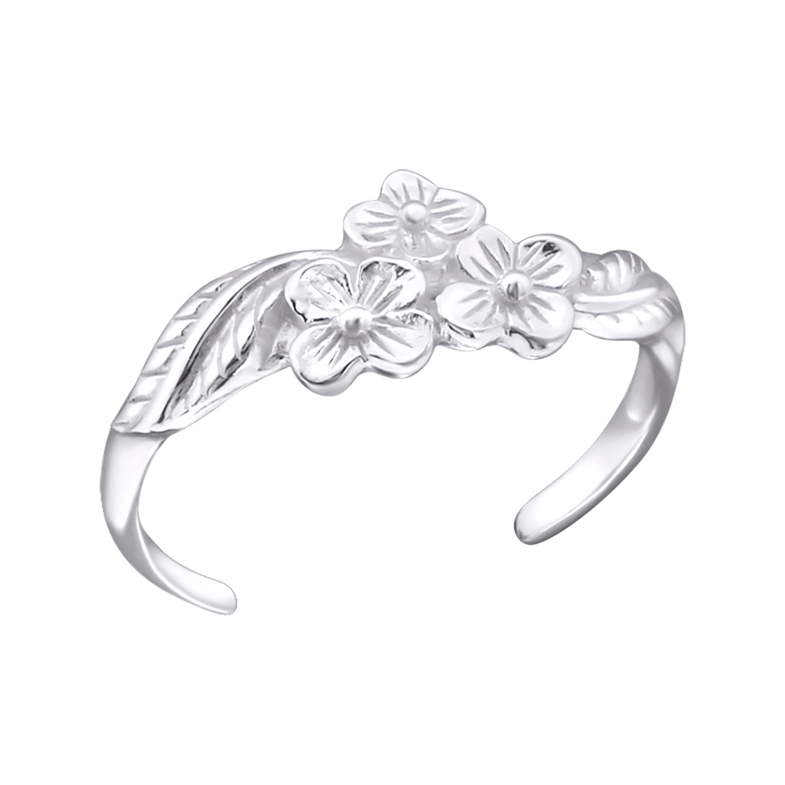 OLIVIE Stříbrný květinový prsten na nohu 1798