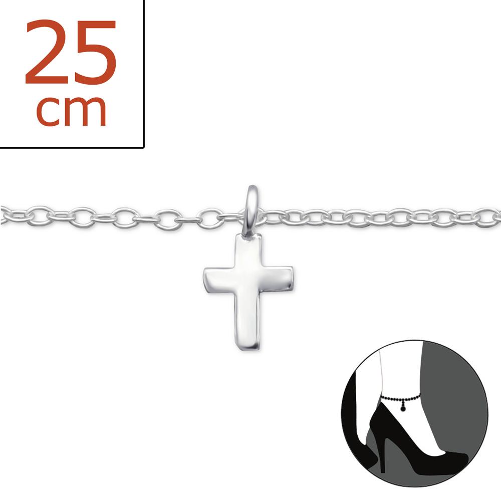 OLIVIE - Stříbrný řetízek na nohu KŘÍŽEK 0183