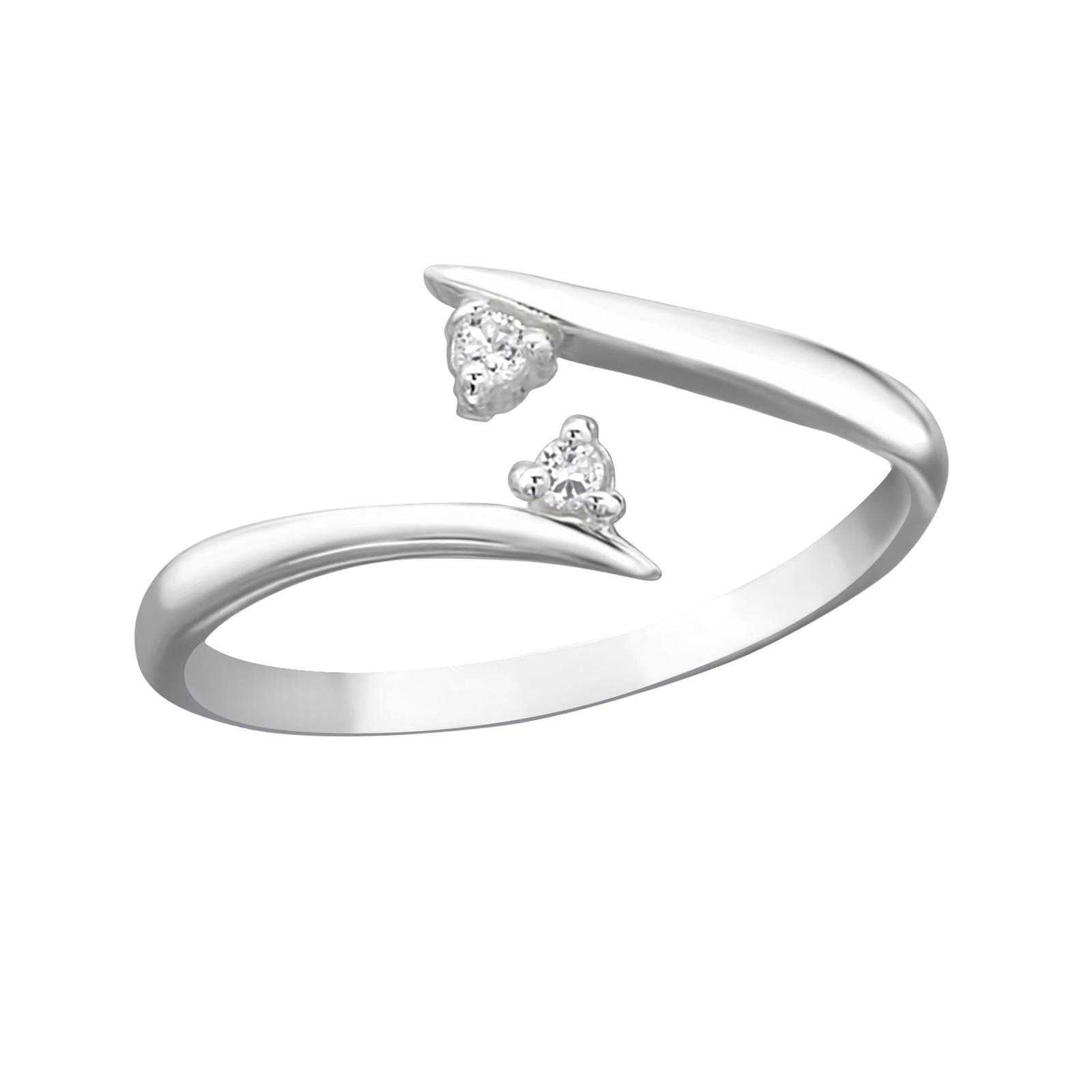 OLIVIE Stříbrný prsten na nohu se zirkony 2088