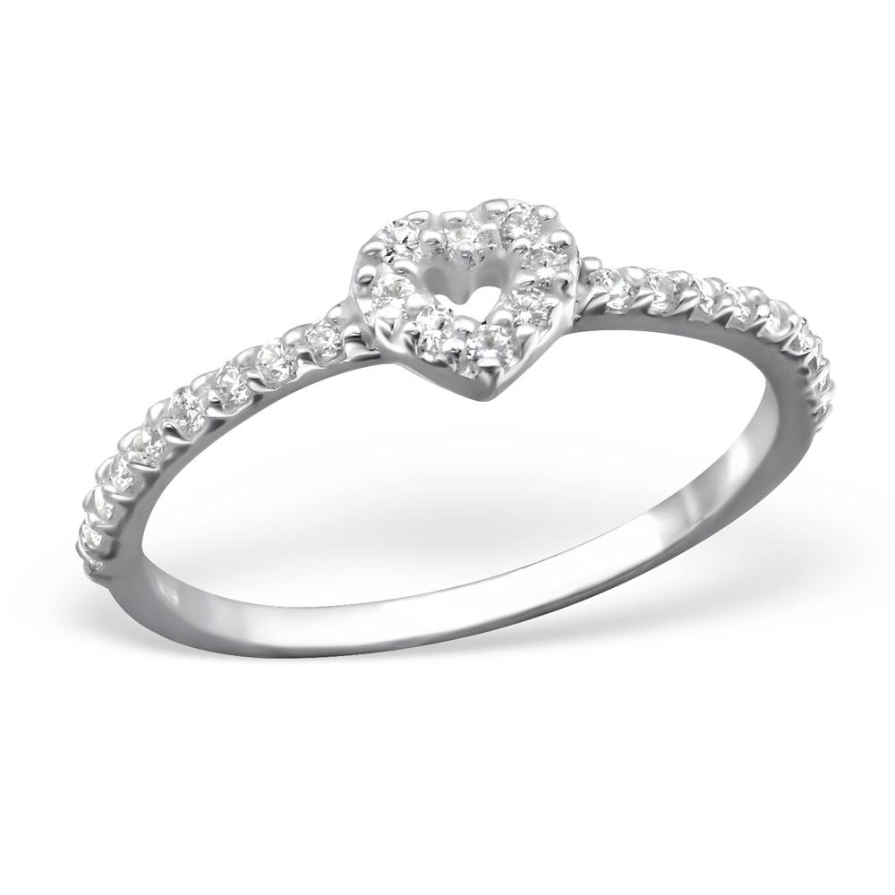 OLIVIE - stříbrný prsten SRDCE 0215 Velikost: 8 (EU: 57 - 58)