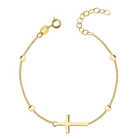 OLIVIE Stříbrný náramek GOLD s křížkem a kuličkami 2193