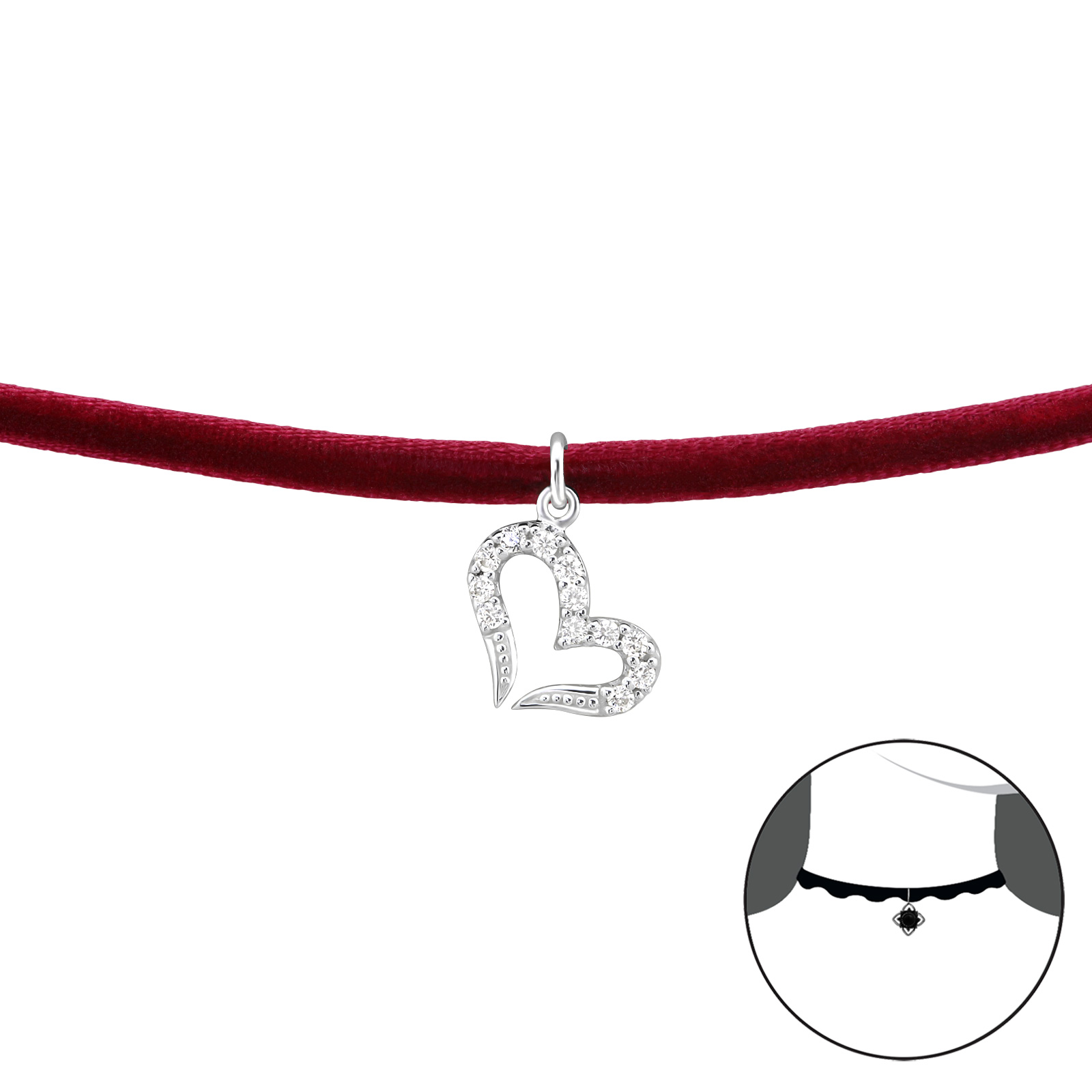 OLIVIE CHOKER náhrdelník SRDCE se zirkony 2488